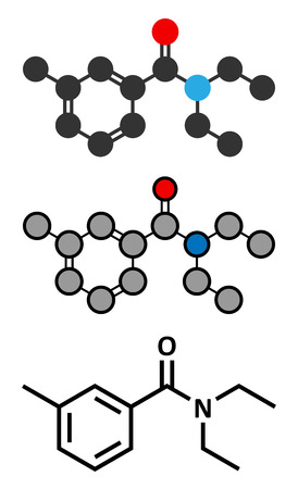 insect repellent: DEET insect repellent molecule. Used to protect against mosquitoes, chiggers, fleas, ticks, etc. Abbreviation for N,N-diethyl-meta-toluamide. Stylized 2D renderings and conventional skeletal formula.