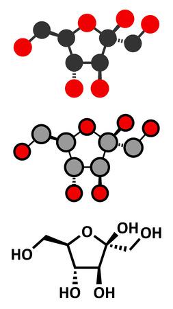 fruttosio: Fruttosio (D-fruttosio) molecola di zucchero della frutta. Componente di sciroppo di mais ad alto contenuto di fruttosio (HFCS). Rendering 2D stilizzate e formula scheletrico convenzionale. Vettoriali