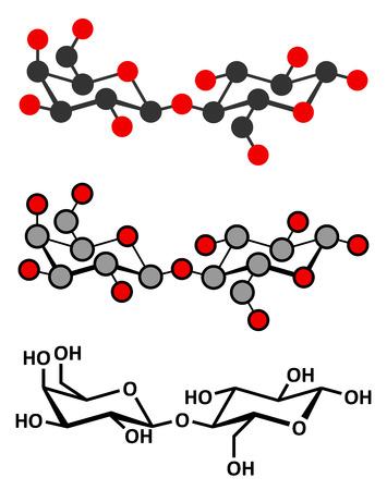 lactose: Lactose milk sugar molecule. Stylized 2D renderings and conventional skeletal formula.
