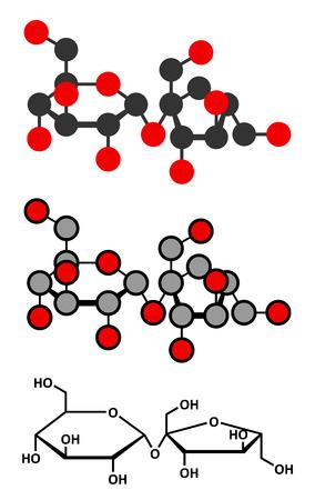 canne a sucre: Mol�cule de sucre saccharose. Aussi connu comme le sucre de table, le sucre de canne ou de betterave. Rendus 2D stylis�s et formule squelettique classique.