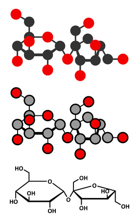Sucrose sugar molecule. Also known as table sugar, cane sugar or beet sugar. Stylized 2D renderings and conventional skeletal formula. Vector