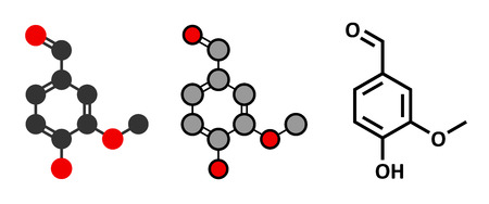 extract: Vanillin vanilla extract molecule. Stylized 2D renderings and conventional skeletal formula.