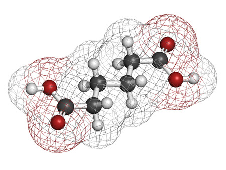 Adipic acid nylon building block molecule. Monomer used in production of nylon polyamide polymer. Atoms are represented as spheres with conventional color coding: hydrogen (white), carbon (grey), oxygen (red). Stock Photo