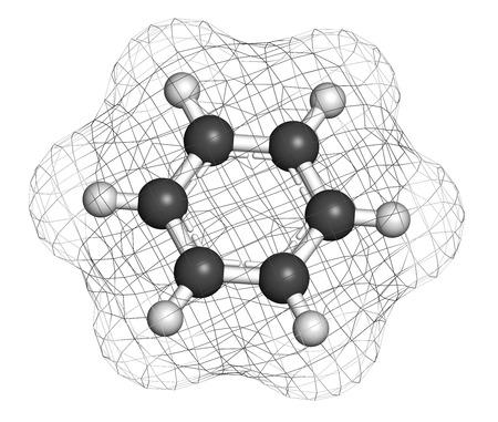 petrochemistry: El benceno mol�cula de hidrocarburo arom�tico. Importante en la petroqu�mica, componente de la gasolina. Los �tomos se representan como esferas con codificaci�n de colores convencionales: hidr�geno (blanco), carbono (gris).