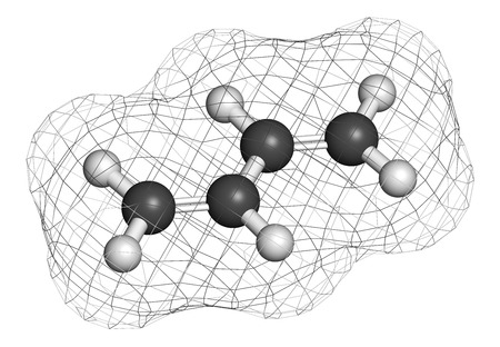 styrene: Butadiene (1,3-butadiene) synthetic rubber building block molecule. Used in synthesis of polybutadiene, ABS and other polymeric materials. Atoms are represented as spheres with conventional color coding: hydrogen (white), carbon (grey).