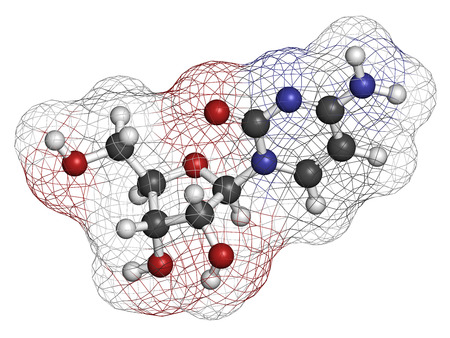 nucleoside: Cytidine RNA building block molecule. Atoms are represented as spheres with conventional color coding: hydrogen (white), carbon (grey), nitrogen (blue), oxygen (red).