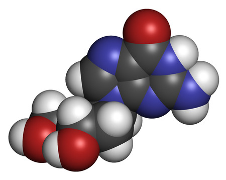 nucleoside: Deoxyguanosine (dG) nucleoside molecule. DNA building block. Atoms are represented as spheres with conventional color coding: hydrogen (white), carbon (grey), nitrogen (blue), oxygen (red).
