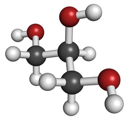 triglycerides: Glicerol (glicerina) mol�cula. Producido a partir de grasas y aceites triglic�ridos. Se utiliza como edulcorante, disolvente y conservante en alimentos y f�rmacos. Los �tomos se representan como esferas con codificaci�n de colores convencionales: hidr�geno (blanco), carbono (gris), ox�geno (roja). Foto de archivo