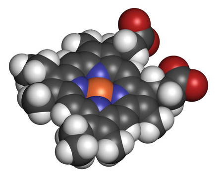 Heme B (haem B) molecule. Heme is an essential component of hemoglobin, myoglobin, cytochrome, catalase and other metalloproteins. Atoms are represented as spheres with conventional color coding: hydrogen (white), carbon (grey), oxygen (red), nitrogen (bl photo