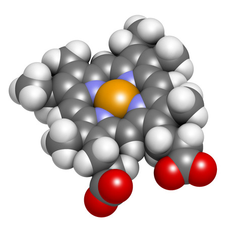hemoglobin: Heme B (haem B) molecule. Heme is an essential component of hemoglobin, myoglobin, cytochrome, catalase and other metalloproteins. Atoms are represented as spheres with conventional color coding: hydrogen (white), carbon (grey), oxygen (red), nitrogen (bl