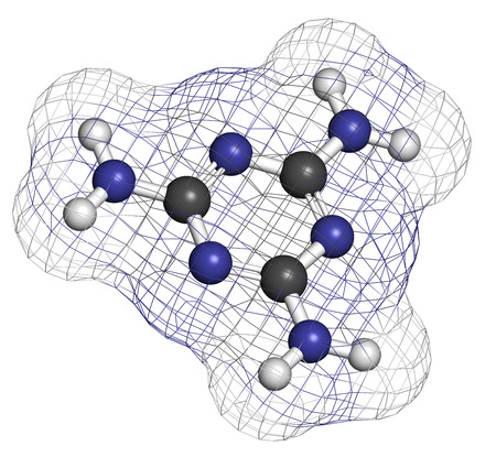 Melamine molecule. Used in protein adulteration, e.g. in milk powder. Atoms are represented as spheres with conventional color coding: hydrogen (white), carbon (grey), nitrogen (blue). photo