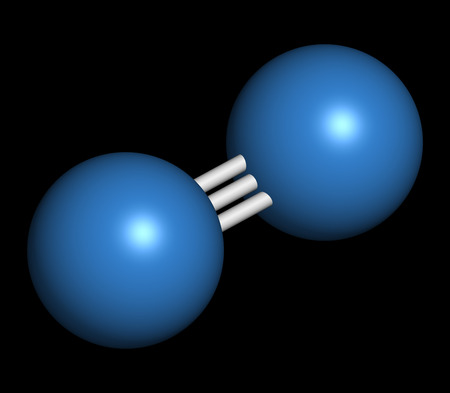 elemental: Elemental nitrogen (N2) molecule. Nitrogen gas is the main component of the Earths atmosphere. Atoms shown as color coded spheres.