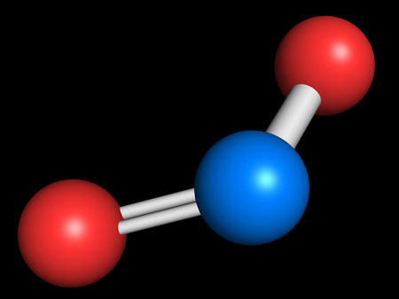 Nitrogen dioxide (NO2) air pollution molecule. Free radical compound, also known as NOx. Atoms are represented as spheres with conventional color coding: nitrogen (blue), oxygen (red).