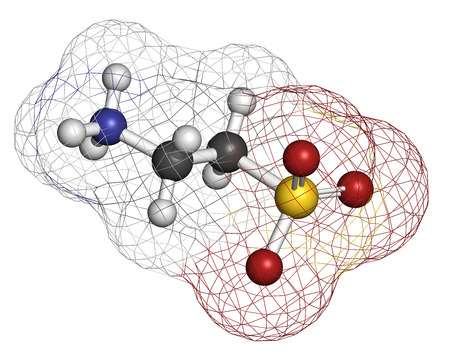 bile: Taurine (2-aminoethanesulfonic acid) molecule. Component of human body, essential for skeletal muscle functioning. Atoms are represented as spheres with conventional color coding: hydrogen (white), carbon (grey), oxygen (red), sulfur (yellow), nitrogen (b