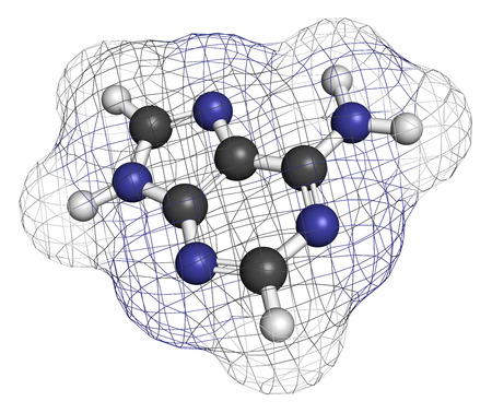 purine: Adenine (A, Adenine) purine nucleobase molecule. Base present in DNA and RNA. Atoms are represented as spheres with conventional color coding: hydrogen (white), carbon (grey), nitrogen (blue). Stock Photo