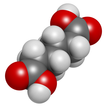 monomer: Adipic acid nylon building block molecule. Monomer used in production of nylon polyamide polymer. Atoms are represented as spheres with conventional color coding: hydrogen (white), carbon (grey), oxygen (red). Stock Photo