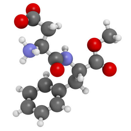 Aspartame artificial sweetener molecule. Used as sugar substitute. Atoms are represented as spheres with conventional color coding: hydrogen (white), carbon (grey), oxygen (red), nitrogen (blue). photo