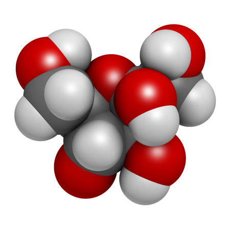 Fructose (D-fructose) fruit sugar molecule. Component of high-fructose corn syrup (HFCS). Atoms are represented as spheres with conventional color coding: hydrogen (white), carbon (grey), oxygen (red). photo