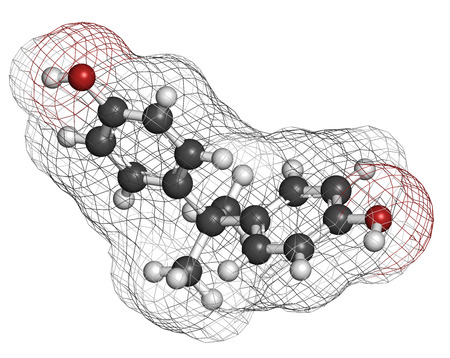 disrupting: Bisphenol A (BPA) plastic pollutant molecule. Chemical often present in polycarbonate plastics, has estrogen disrupting effects. Atoms are represented as spheres with conventional color coding: hydrogen (white), carbon (grey), oxygen (red).