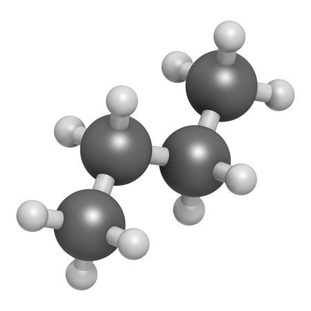 liquified: Butane hydrocarbon molecule. Commonly used as fuel gas, alone or combined with propane (LPG, liquified petroleum gas). Atoms are represented as spheres with conventional color coding: hydrogen (white), carbon (grey). Stock Photo