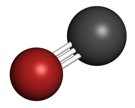 Carbon monoxide (CO) toxic gas molecule. Carbon monoxide poisoning frequently occurs due to malfunctioning fuel-burning home appliances. Atoms are represented as spheres with conventional color coding: carbon (grey), oxygen (red).