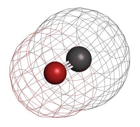 poisoning: Monossido di carbonio (CO) molecola di gas tossici. Avvelenamento da monossido di carbonio si verifica spesso a causa di elettrodomestici malfunzionanti casa-combustione. Gli atomi sono rappresentati come sfere con codifica a colori convenzionali: carbonio (grigio), ossigeno (rosso).