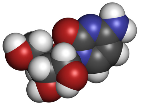 triphosphate: Cytidine RNA building block molecule. Atoms are represented as spheres with conventional color coding: hydrogen (white), carbon (grey), nitrogen (blue), oxygen (red).
