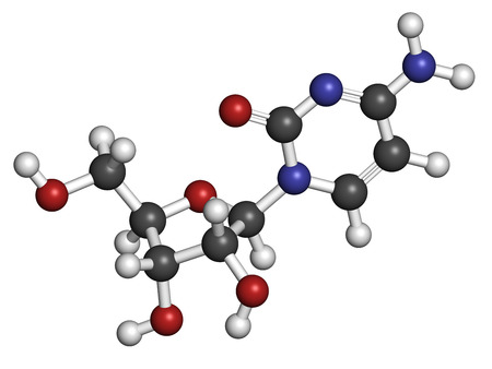 rna: Cytidine RNA building block molecule. Atoms are represented as spheres with conventional color coding: hydrogen (white), carbon (grey), nitrogen (blue), oxygen (red).
