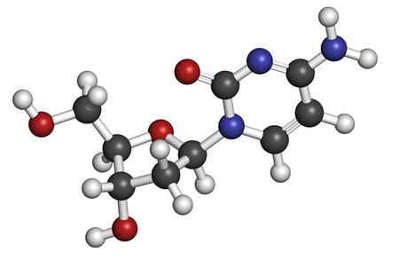 nucleoside: Deoxycytidine (dC) nucleoside molecule. DNA building block. Atoms are represented as spheres with conventional color coding: hydrogen (white), carbon (grey), nitrogen (blue), oxygen (red). Stock Photo
