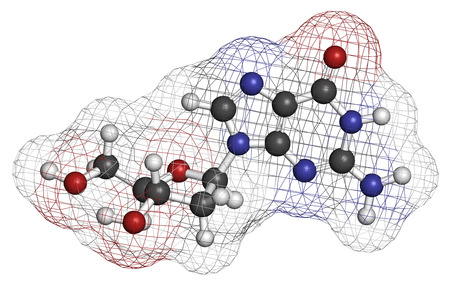 guanosine: Deoxyguanosine (dG) nucleoside molecule. DNA building block. Atoms are represented as spheres with conventional color coding: hydrogen (white), carbon (grey), nitrogen (blue), oxygen (red).