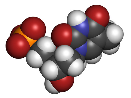 nucleotide: Thymidine monophosphate (TMP, thymidylate) nucleotide molecule. DNA building block. Atoms are represented as spheres with conventional color coding: hydrogen (white), carbon (grey), nitrogen (blue), oxygen (red), phosphorus (orange). Stock Photo