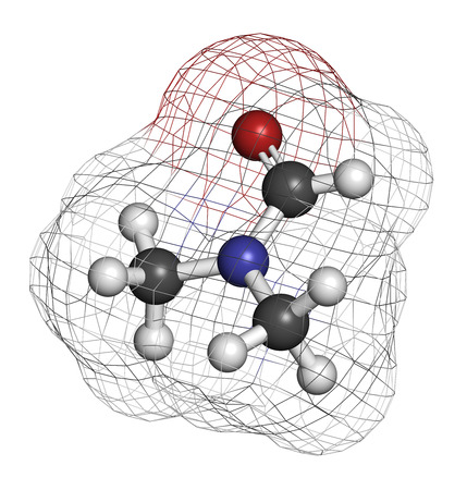 teratogenic: Dimethylformamide (DMF) chemical solvent molecule. Atoms are represented as spheres with conventional color coding: hydrogen (white), carbon (grey), oxygen (red), nitrogen (blue).