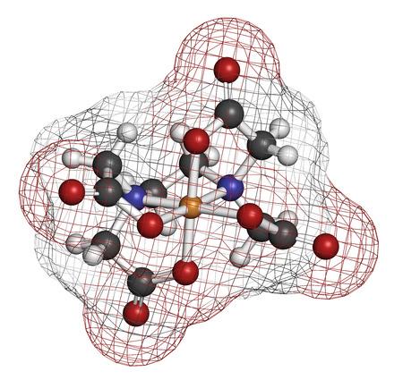 chelation: EDTA (ethylenediaminetetraacetic acid) complexing agent molecule.