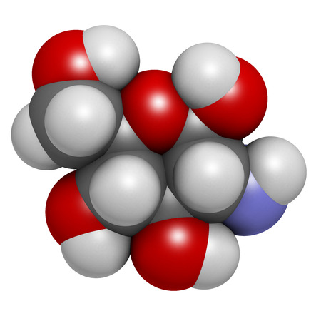 Glucosamine dietary supplement molecule. Used in treatment of osteoarthritis. Atoms are represented as spheres with conventional color coding: hydrogen (white), carbon (grey), oxygen (red), nitrogen (blue). Stock Photo