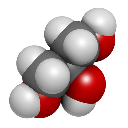 glycerin soap: Glycerol (glycerin) molecule. Produced from fat and oil triglycerides. Used as sweetener, solvent and preservative in food and drugs. Atoms are represented as spheres with conventional color coding: hydrogen (white), carbon (grey), oxygen (red).