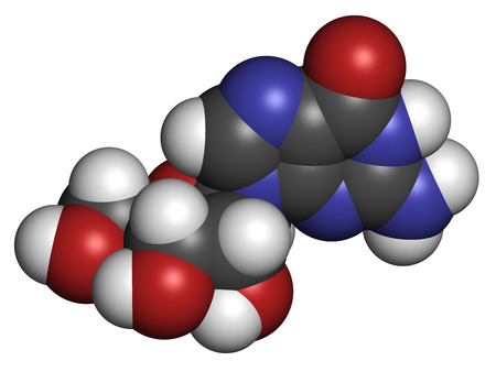 nucleoside: Guanosine purine nucleoside molecule. Important component of GTP, GDP, cGMP, GMP and RNA. Atoms are represented as spheres with conventional color coding: hydrogen (white), carbon (grey), oxygen (red), nitrogen (blue).