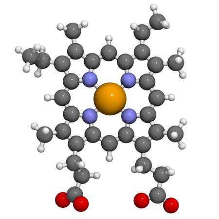bl: Heme B (haem B) molecule. Heme is an essential component of hemoglobin, myoglobin, cytochrome, catalase and other metalloproteins. Atoms are represented as spheres with conventional color coding: hydrogen (white), carbon (grey), oxygen (red), nitrogen (bl