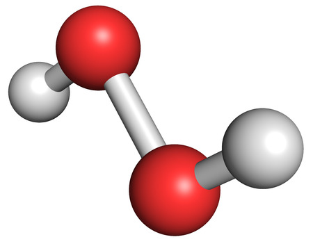 Hydrogen peroxide molecule. Reactive oxygen species (ROS). Used as bleaching agent, disinfectant, chemical reagent, etc. Atoms are represented as spheres with conventional color coding: hydrogen (white), oxygen (red). Foto de archivo