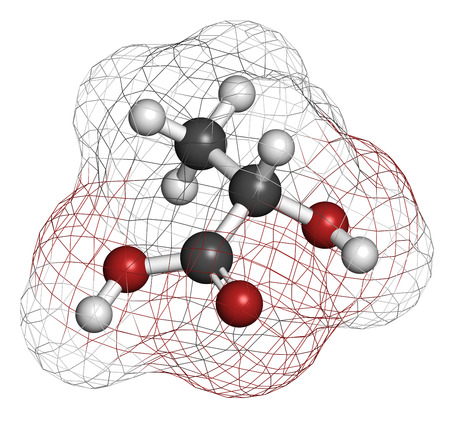 acidosis: Lactic acid (L-lactic acid) milk sugar molecule. Building block of polylactic acid (PLA) bioplastic. Found in milk. Atoms are represented as spheres with conventional color coding: hydrogen (white), carbon (grey), oxygen (red). Stock Photo