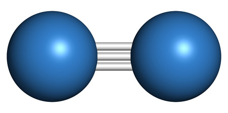 refrigerant: Elemental nitrogen (N2) molecule. Nitrogen gas is the main component of the Earths atmosphere. Atoms shown as color coded spheres.