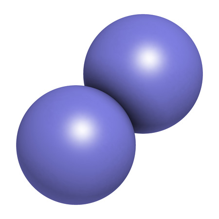 Elemental nitrogen (N2) molecule. Nitrogen gas is the main component of the Earths atmosphere. Atoms shown as color coded spheres.