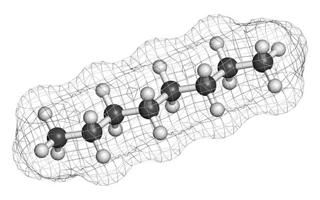 octane: Octane hydrocarbon molecule. Component of petrol (gasoline). Atoms are represented as spheres with conventional color coding: hydrogen (white), carbon (grey).