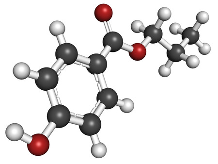 preservative: Propyl paraben preservative molecule. Used in food and cosmetics. Atoms are represented as spheres with conventional color coding: hydrogen (white), carbon (grey), oxygen (red). Stock Photo