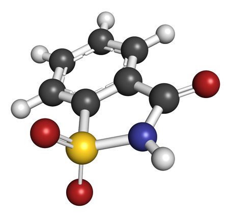 benzoic: Saccharin artificial sweetener molecule. Atoms are represented as spheres with conventional color coding: hydrogen (white), carbon (grey), nitrogen (blue), oxygen (red), sulfur (yellow). Stock Photo