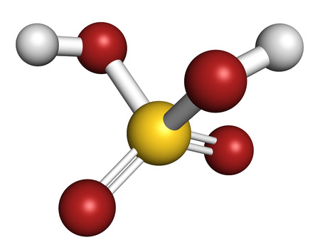 sulphuric acid: Sulfur acid molecule. Strong mineral acid. Used as electrolyte in lead-acid car batteries and in production of fertilizer. Atoms are represented as spheres with conventional color coding: sulfur (yellow), oxygen (red), hydrogen (white).
