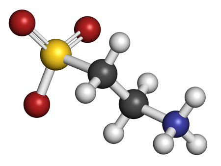 Taurine (2-aminoethanesulfonic acid) molecule. Component of human body, essential for skeletal muscle functioning. Atoms are represented as spheres with conventional color coding: hydrogen (white), carbon (grey), oxygen (red), sulfur (yellow), nitrogen (b