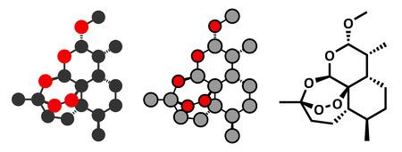 fluke: Artemether malaria drug molecule.  Illustration
