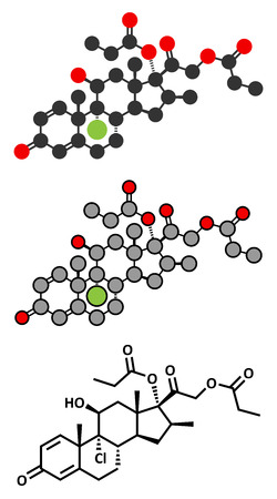 sinusitis: Beclometasone dipropionate glucocorticoid drug molecule.  Illustration