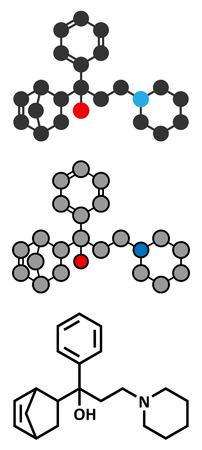 anticholinergic: Biperiden Parkinsons disease drug molecule.