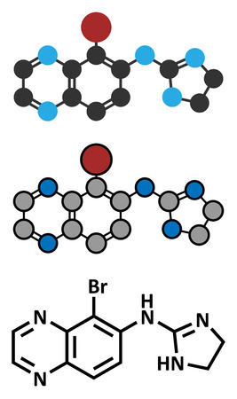 a2: Brimonidine alpha2-adrenergic drug molecule.